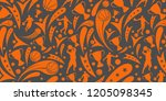 basketball pattern background... | Shutterstock .eps vector #1205098345