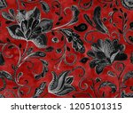 paisley seamless hand painted... | Shutterstock . vector #1205101315