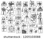 doodle set of christmas... | Shutterstock .eps vector #1205103088
