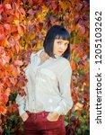 beautiful girl in the autumn... | Shutterstock . vector #1205103262