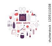 zero waste hand drawn elements... | Shutterstock .eps vector #1205111038