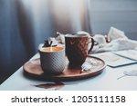 cozy autumn or winter morning...   Shutterstock . vector #1205111158