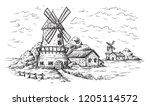 village near a wheat field and...   Shutterstock .eps vector #1205114572