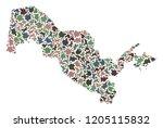 mosaic map of uzbekistan...   Shutterstock .eps vector #1205115832