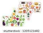 healthy vs junk food like and... | Shutterstock . vector #1205121682