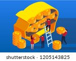 businessman deposits gold coins ... | Shutterstock .eps vector #1205143825