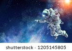 astronaut on space mission.... | Shutterstock . vector #1205145805