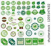 big set of eco labels with... | Shutterstock .eps vector #1205147632
