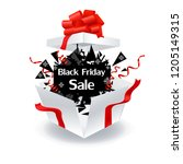 black friday  outdoor gift box  ... | Shutterstock .eps vector #1205149315
