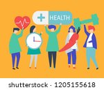 charactes of people holding... | Shutterstock .eps vector #1205155618