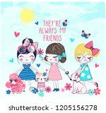 cute and fashion girls friend... | Shutterstock .eps vector #1205156278