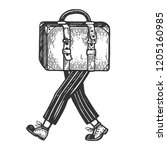 suitcase bag walks on its feet... | Shutterstock .eps vector #1205160985