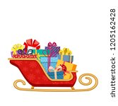 santa claus sleigh with gifts... | Shutterstock .eps vector #1205162428