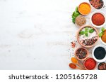 a set of spices and herbs on a... | Shutterstock . vector #1205165728