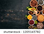 various superfoods. dried... | Shutterstock . vector #1205165782