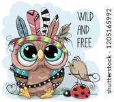 cute cartoon tribal owl and... | Shutterstock .eps vector #1205165992