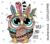 Cute Cartoon Tribal Owl With...