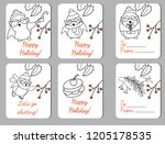 christmas labels with cartoon... | Shutterstock .eps vector #1205178535