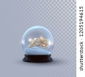 christmas snow globe with... | Shutterstock .eps vector #1205194615