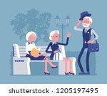 active seniors in park. retired ... | Shutterstock .eps vector #1205197495