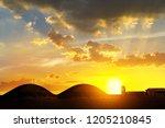 biogas plant technology at sky... | Shutterstock . vector #1205210845