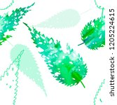 watercolor leaves seamless... | Shutterstock .eps vector #1205224615