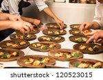 meal in a wooden plate an...   Shutterstock . vector #120523015