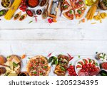 various kind of italian food... | Shutterstock . vector #1205234395