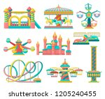 amusement park design elements... | Shutterstock .eps vector #1205240455