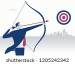 businessman aiming the target.... | Shutterstock .eps vector #1205242342