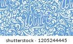 seamless calligraphic pattern... | Shutterstock .eps vector #1205244445