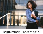woman with mobile phone and... | Shutterstock . vector #1205246515