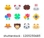 animals and flowers   set of... | Shutterstock .eps vector #1205250685