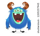 excited cartoon monster with... | Shutterstock .eps vector #1205257945
