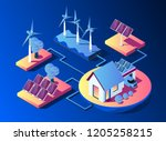 transmission of solar and wind... | Shutterstock .eps vector #1205258215
