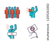 protest action color icons set. ... | Shutterstock .eps vector #1205261002