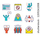 protest action color icons set. ... | Shutterstock .eps vector #1205261008