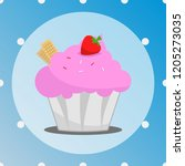 pink cupcake with wafer and... | Shutterstock .eps vector #1205273035