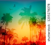 palms and birds silhouettes.... | Shutterstock . vector #1205278378