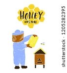 honey label with hand drawn... | Shutterstock .eps vector #1205282395