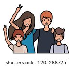 family smiling and waving... | Shutterstock .eps vector #1205288725