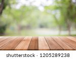 empty wooden table with blurred ... | Shutterstock . vector #1205289238