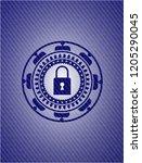 closed lock icon inside emblem...   Shutterstock .eps vector #1205290045