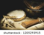 whole grain products with... | Shutterstock . vector #1205293915