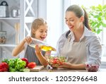 healthy food at home. happy... | Shutterstock . vector #1205296648