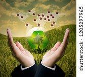global market demand recycle ... | Shutterstock . vector #1205297965