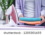 the housewife in the shirt... | Shutterstock . vector #1205301655
