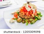 dakos  cretan salad with fresh... | Shutterstock . vector #1205309098