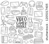 video gamer computer player ... | Shutterstock .eps vector #1205317405
