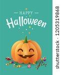 happy halloween greeting card... | Shutterstock .eps vector #1205319868
